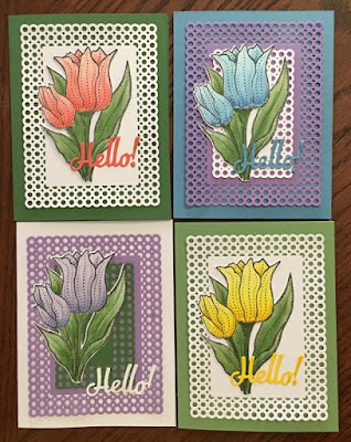 ODBD Tulips, ODBD Custom Tulips Die, ODBD Custom Circle Scalloped Rectangles Dies, ODBD Customer Card of the Day Created by Lesley aka Marleygo