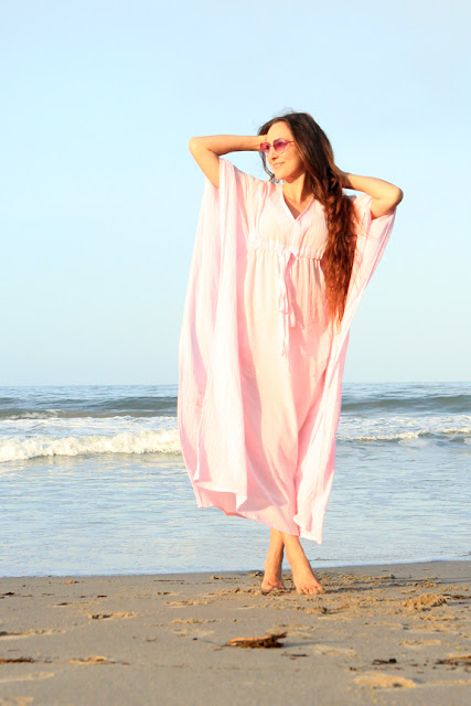 Pink Maxi Cotton Gauze Caftan by Mademoiselle Mermaid