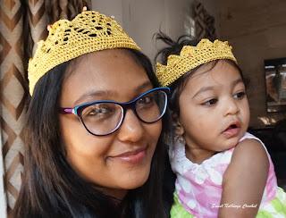 crochet crown for mum and daughter, crochet crown pattern, crochet headwear pattern,