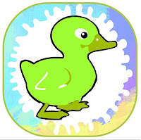 Dibujo de un patito verde rodeado de colores