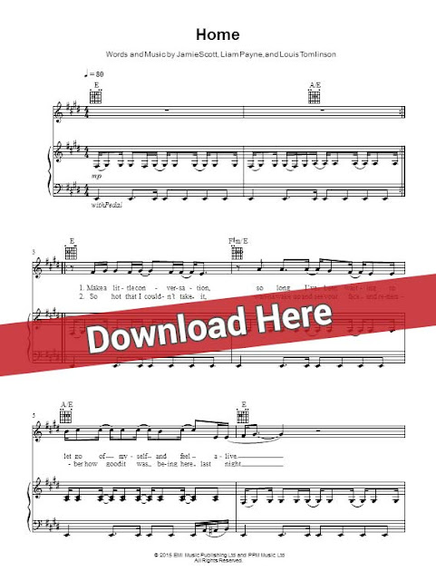 one direction, home, sheet music, piano notes, score, chords, download, guitar, tabs, klavier noten, keyboard