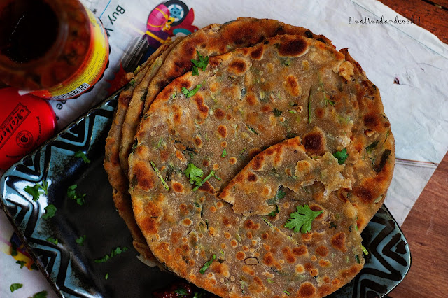 how to make Coriander Paratha / dhone patar paratha recipe and preparation