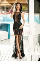 Rochie de seara lunga neagra din tul brodat cu margele • Atmosphere