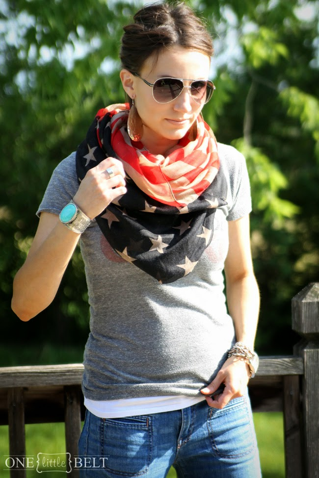 Aviators, flag scarf, and gray tee