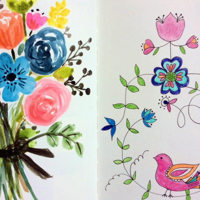 2x2, 2x2 Sketchbook, #2x2sketchbook, sketchbooks, artist collaboration, floral sketches, Dana Barbieri, Anne Butera