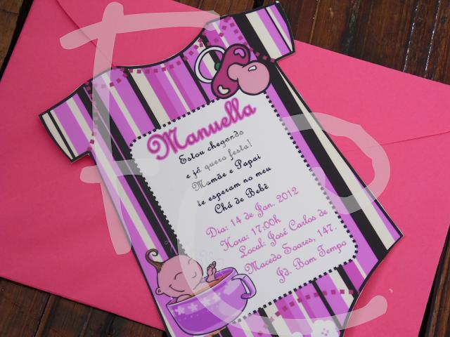 Convite Recorte Diferenciado - Formato Body - Tema: Chá de Bebê Rosa e Marrom