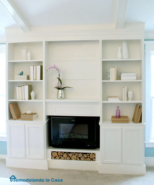 how to build a set of bookcases with fireplace