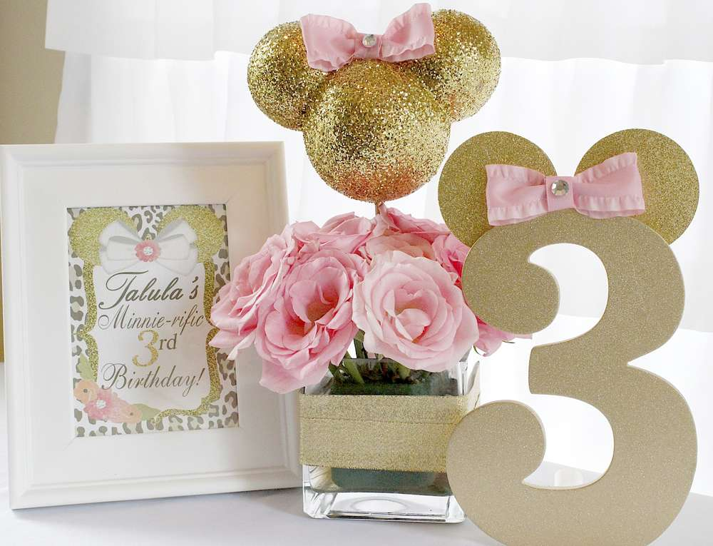 Ideas Decoración Minnie Pink And Gold Una Mami Creativa