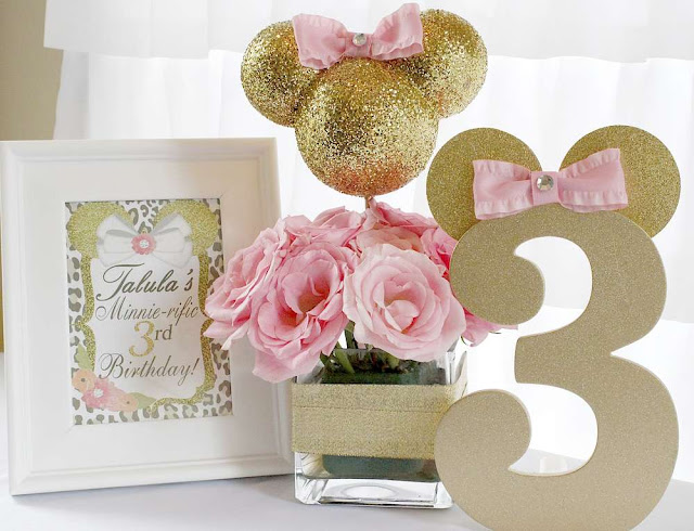IDEAS: DECORACIÓN MINNIE PINK AND GOLD