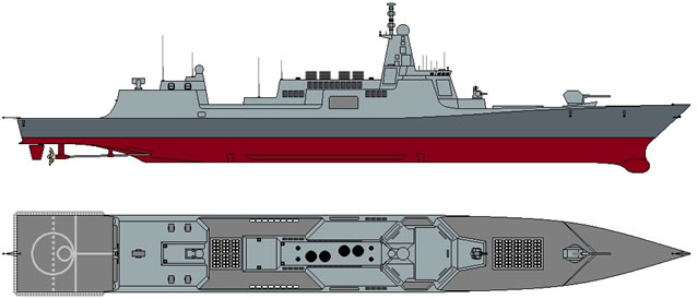 Image Attribute: The schematic sketch of the PLAN's Type 055 Destroyer including Side-view and Top-view