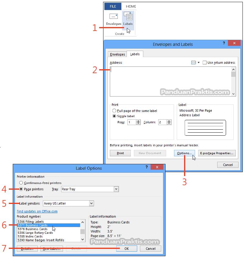 Cara Membuat Dan Mencetak Label Dan Kartu Nama Di Word 2013