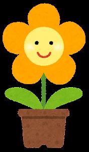 鉢植の花のキャラクター(オレンジ)