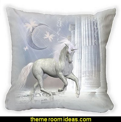 "Magical White Unicorn Fantasy On Pink Bridge Microfiber Throw Pillow Cushion Cover 16"" Square"