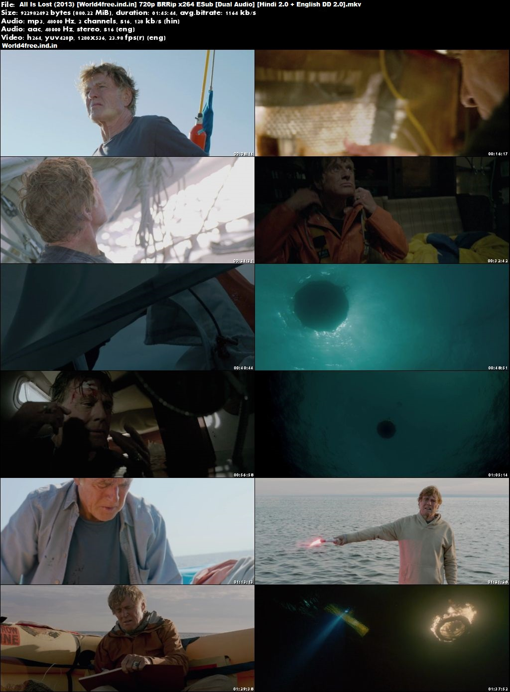 All Is Lost 2013 world4free.ind.in Hindi English BRRip 720p Dual Audio