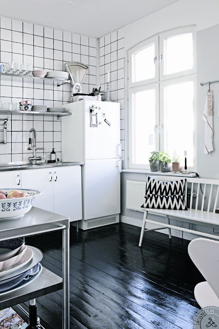 lovely black white kitchen flooring   Shop House Dallas   Accents in Black