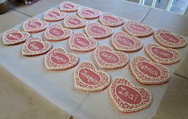Personalized Valentine's Day Heart Sugar Cookies - Angled View