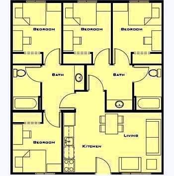 denah rumah satu lantai 4 kamar terbaru | desain properti