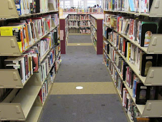 Shelves of books at Wheaton Interim Library