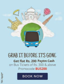 Rs  200 Cashback on Rs 300 – PayTm Bus Tickets