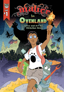 Cover art, 'Malice in Ovenland' by Micheline Hess. Image shows a young girl, holding a burning torch aloft. A lizard-like creature holding a red, two-tined fork, cowers behind her. The pair are in a setting reminiscent of a cavern with small shadowy figures behind them. One giant shadow looms directly behind them and shadowy flying creatures flit against the cavern walls.