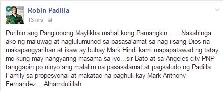 Robin Padilla to Mark Anthony: 'Hindi Kami Mapapatawad ng Tatay Mo Kung May Nangyaring Masama sa Iyo'