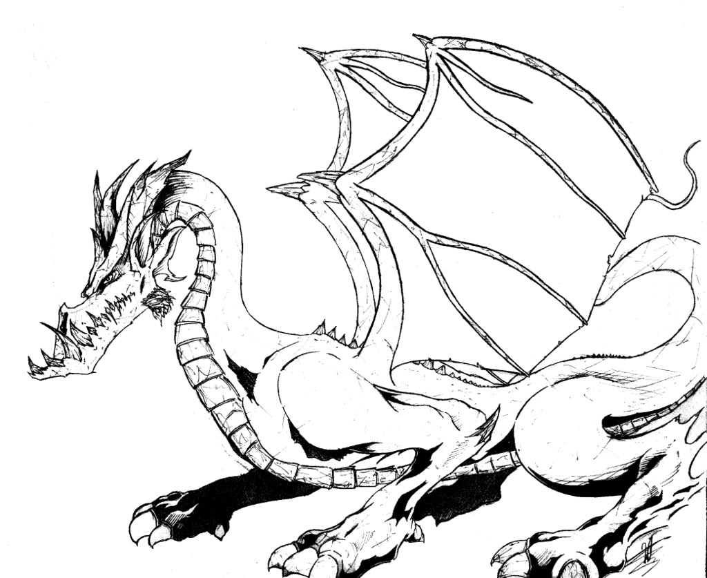 Coloring Pages Hd : Hd realistic dragon coloring pages images free