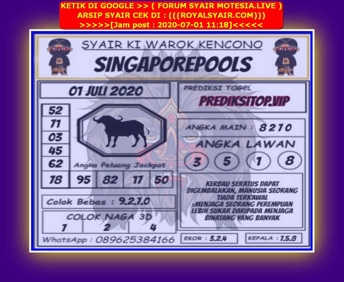 Kode syair Singapore Rabu 1 Juli 2020 117