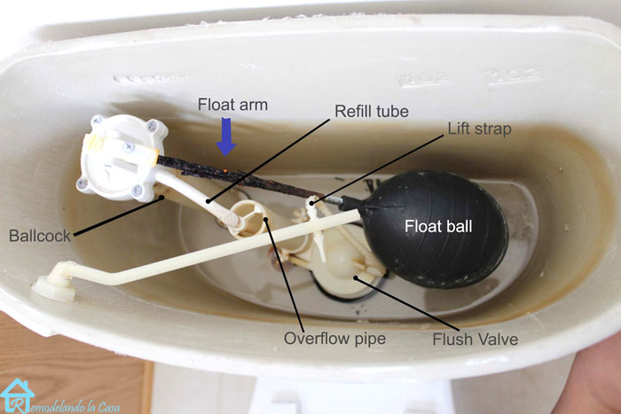 the inside view of a toilet tank showing the name of its parts