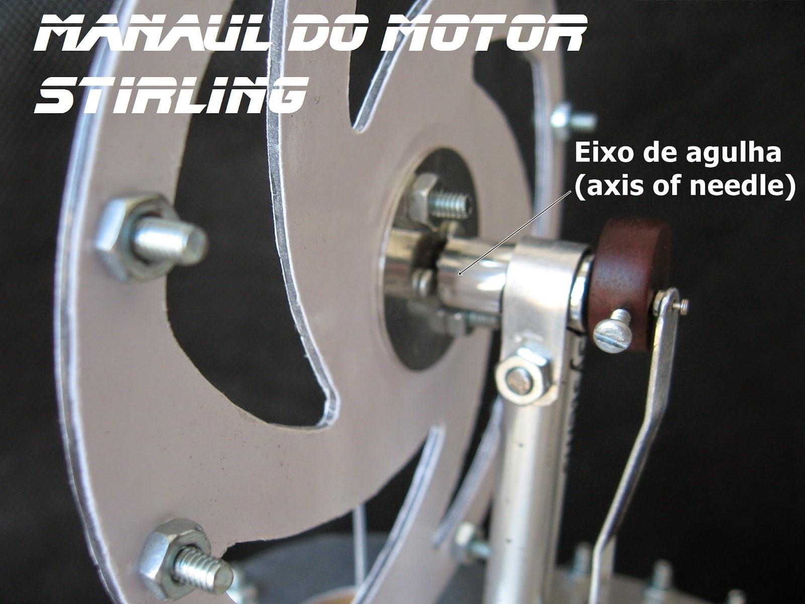 Motor Stirling LTD Gama caseiro, usado uma agulha para o eixo do virabrequim