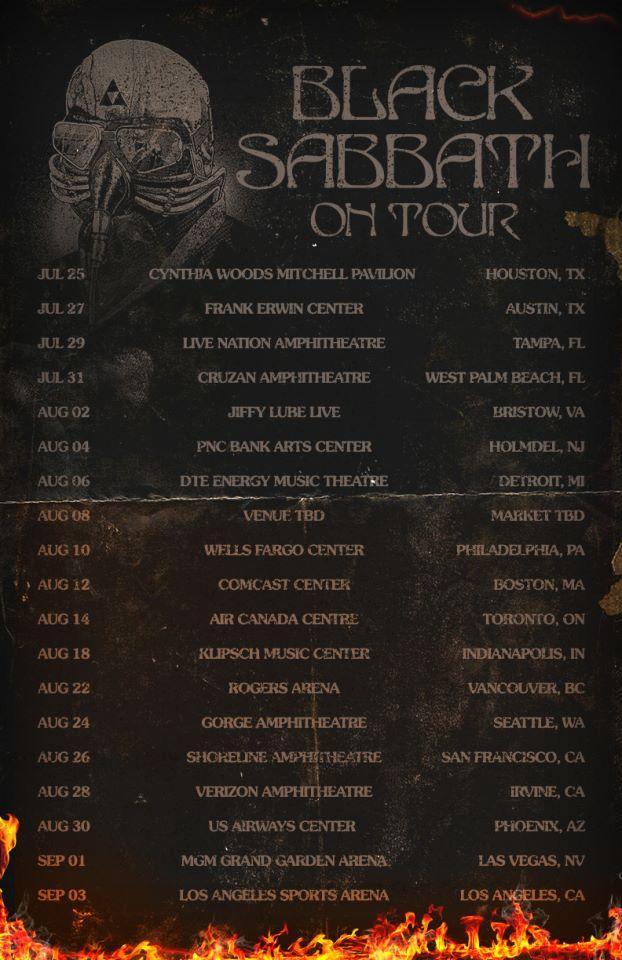 horns up rocks black sabbath north american tour poster. Black Bedroom Furniture Sets. Home Design Ideas