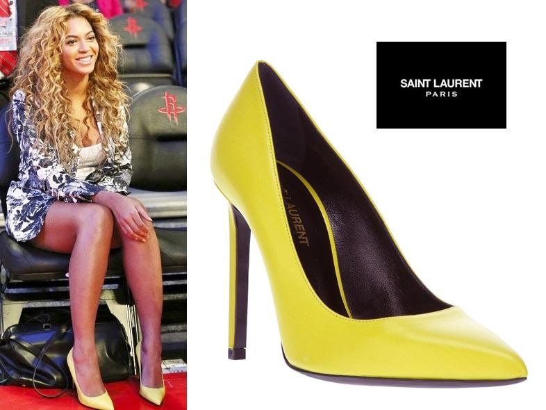 37d15f76 SAINT LAURENT Zapatos de salón 'Classic Paris' amarillo Colección  Primavera/Verano 2013. Visto en: Beyoncé