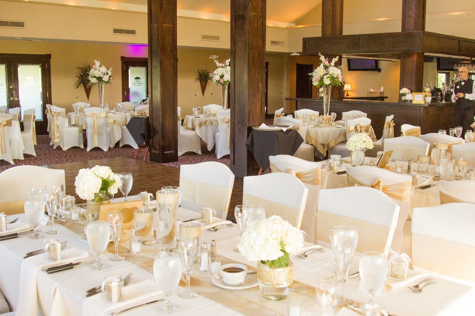 gold and white wedding reception