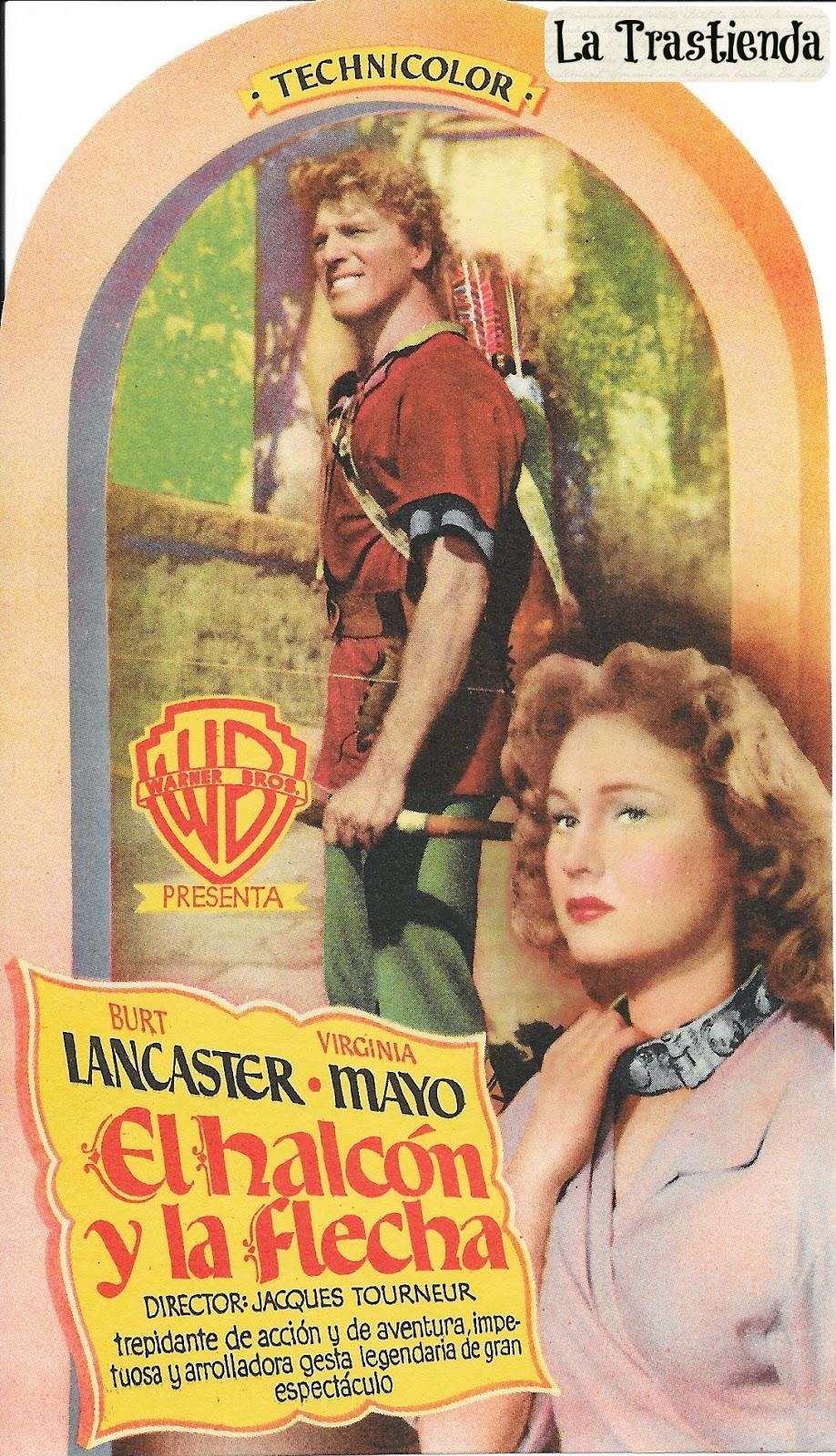 El Halcón y la Flecha - Folleto de mano -Burt Lancaster - Virginia Mayo