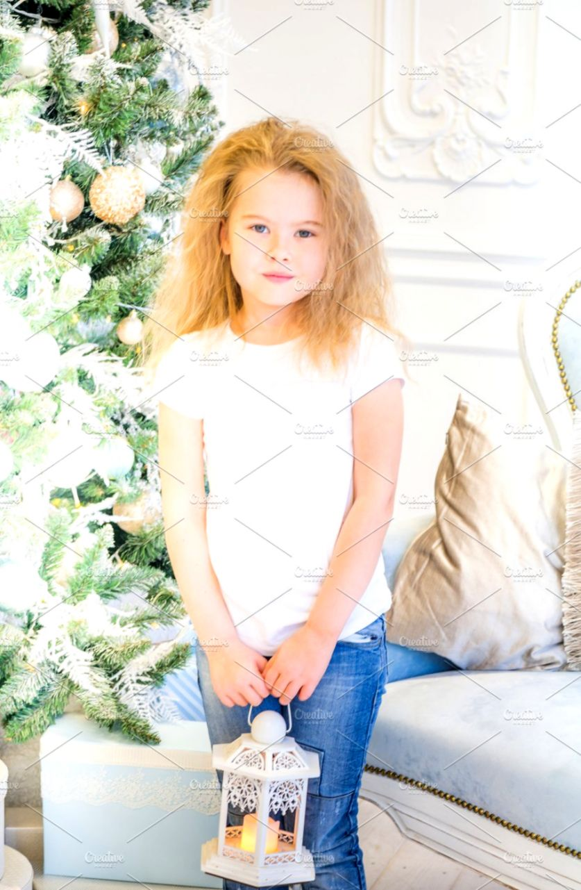 Cute girl and Christmas Tree People Images Creative Market