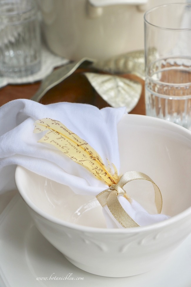 French Country Thanksgiving place setting soup  with French script feather napkin ring