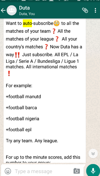 Duta WhatsApp football updates - Subscribe to football matches