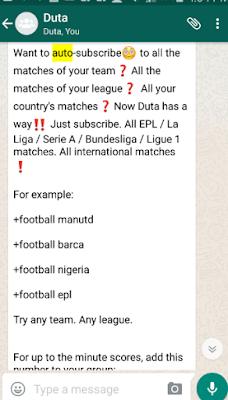 WhatsApp football updates