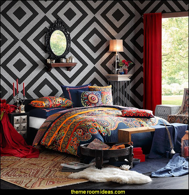 Hollywood Boho bedroom ideas - bedroom decorating - bedroom furniture - bedding - bedroom decor - master bedroom designs - bedroom style ideas - adult bedroom decorating ideas - Master bedroom themes