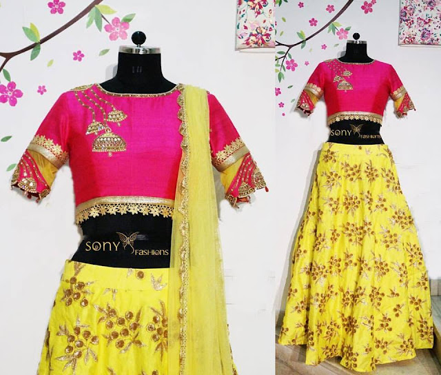Lemon Yellow Gold Work Lehenga
