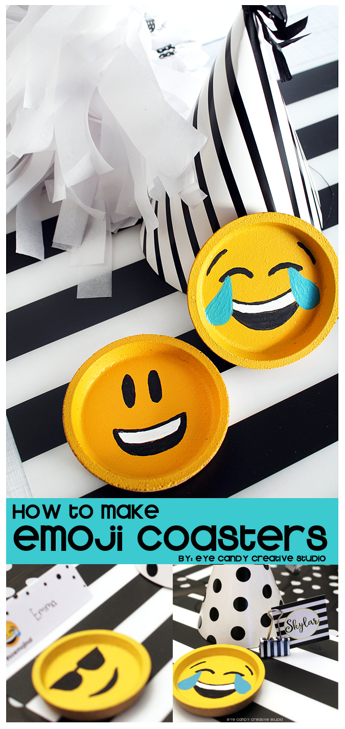 emoji coasters, IKEA hack, emoji party, emoji craft idea, party favor