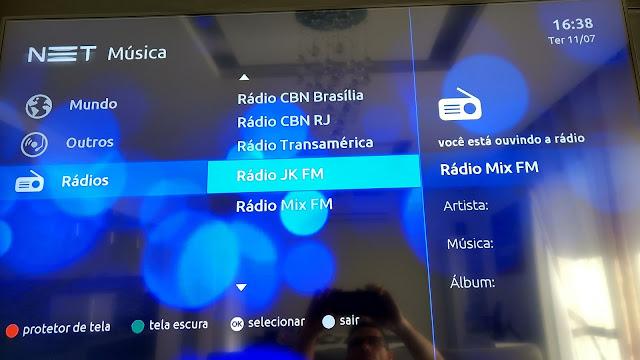 Ouça a CBN, Transamérica, Mix e JK FM na operadora de TV NET...