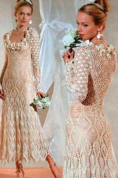 vestido para novia en crochet