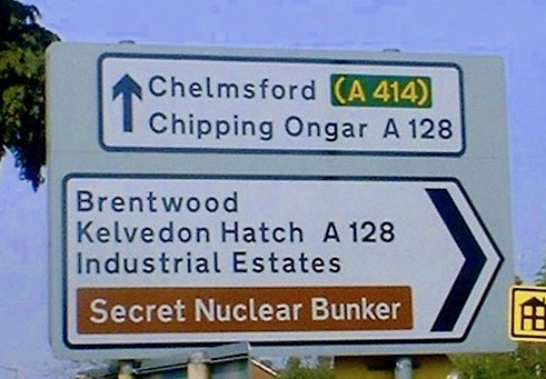 Direction sign to secret nuclear bunker. Brentwood Kelvedon hatch Estates. A Planet of the Apes warning. Contingency plans and Other stories of Military Intelligence marchmatron.com