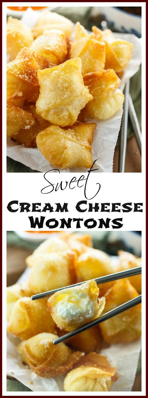 Sweet Cream Cheese Wontons - The Cozy Cook