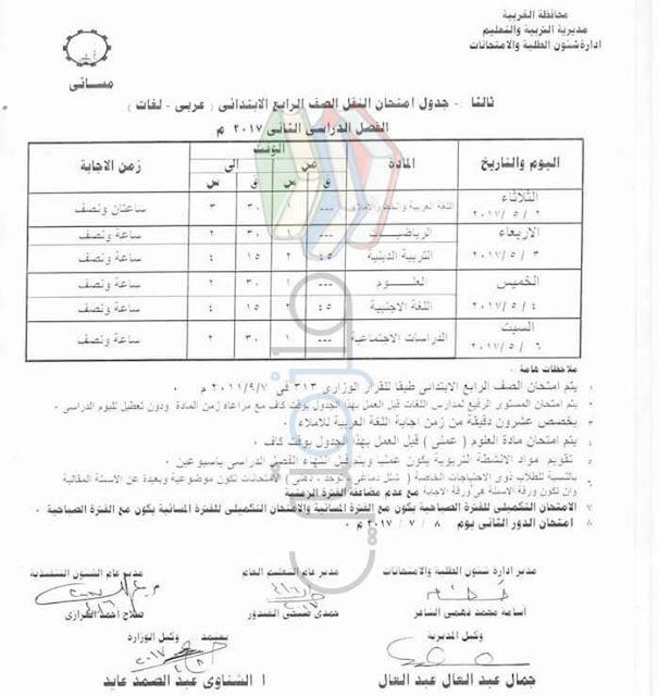 جدول امتحانات الصف الرابع الابتدائي 2017 الترم الثاني محافظة الغربية