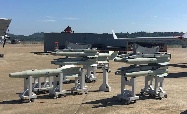 Image Attribute: Static Display of Wing Loong II UAV's laser-guided bombs or missiles at the Airshow China 2016 in November 2016
