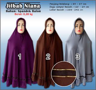 Jilbab polos niana cantik dan elegan dengan hiasan yang simple