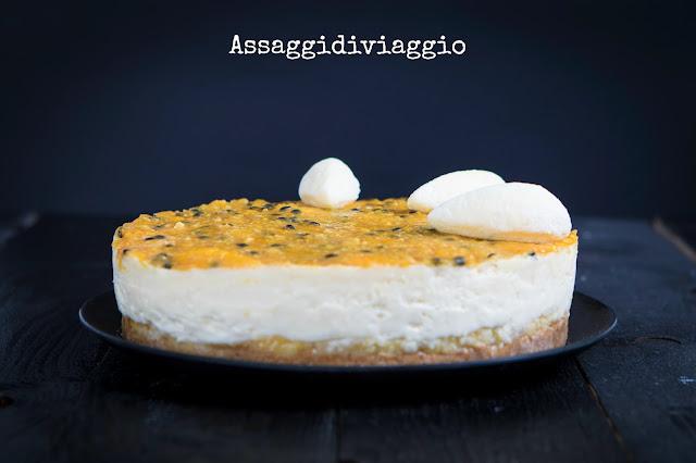 Torta Satine di Pierre Hermé-Cheesecake arancia e frutto della passione