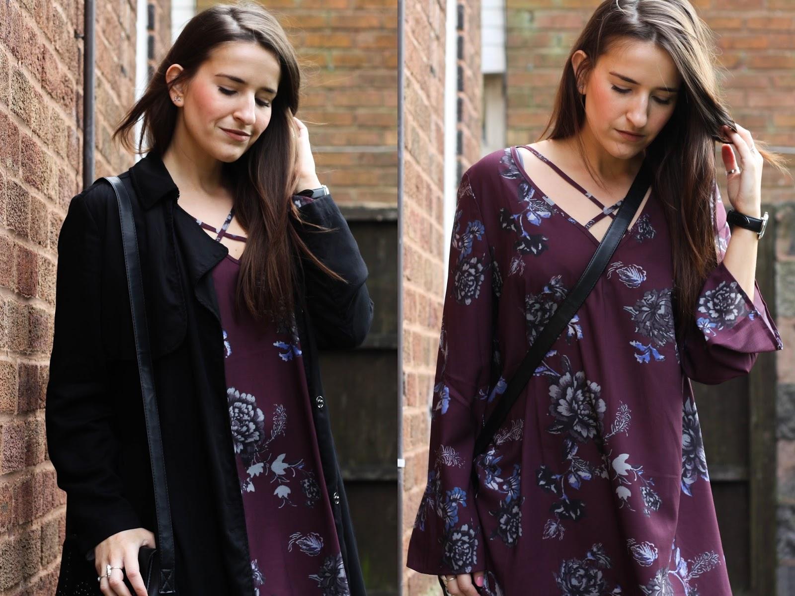 SheIn purple floral boho dress