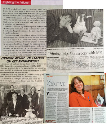 newsppaper clipping of the launch of Fit to Fly documentary by David Begley about ME Artist Corina Duyn